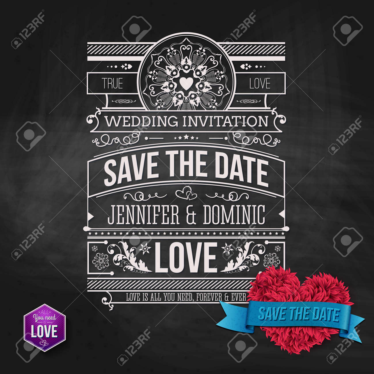 wedding concept artistic save the date template design on gray