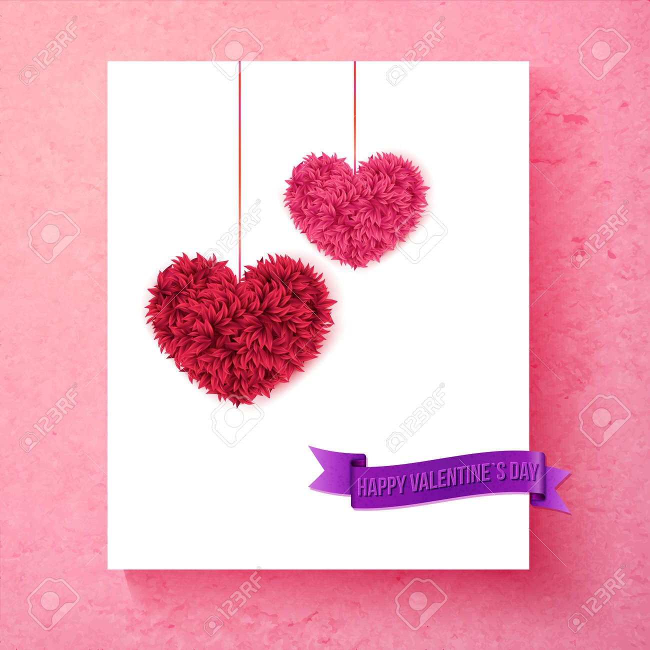 loving tender valentine card design with colorful pink and red