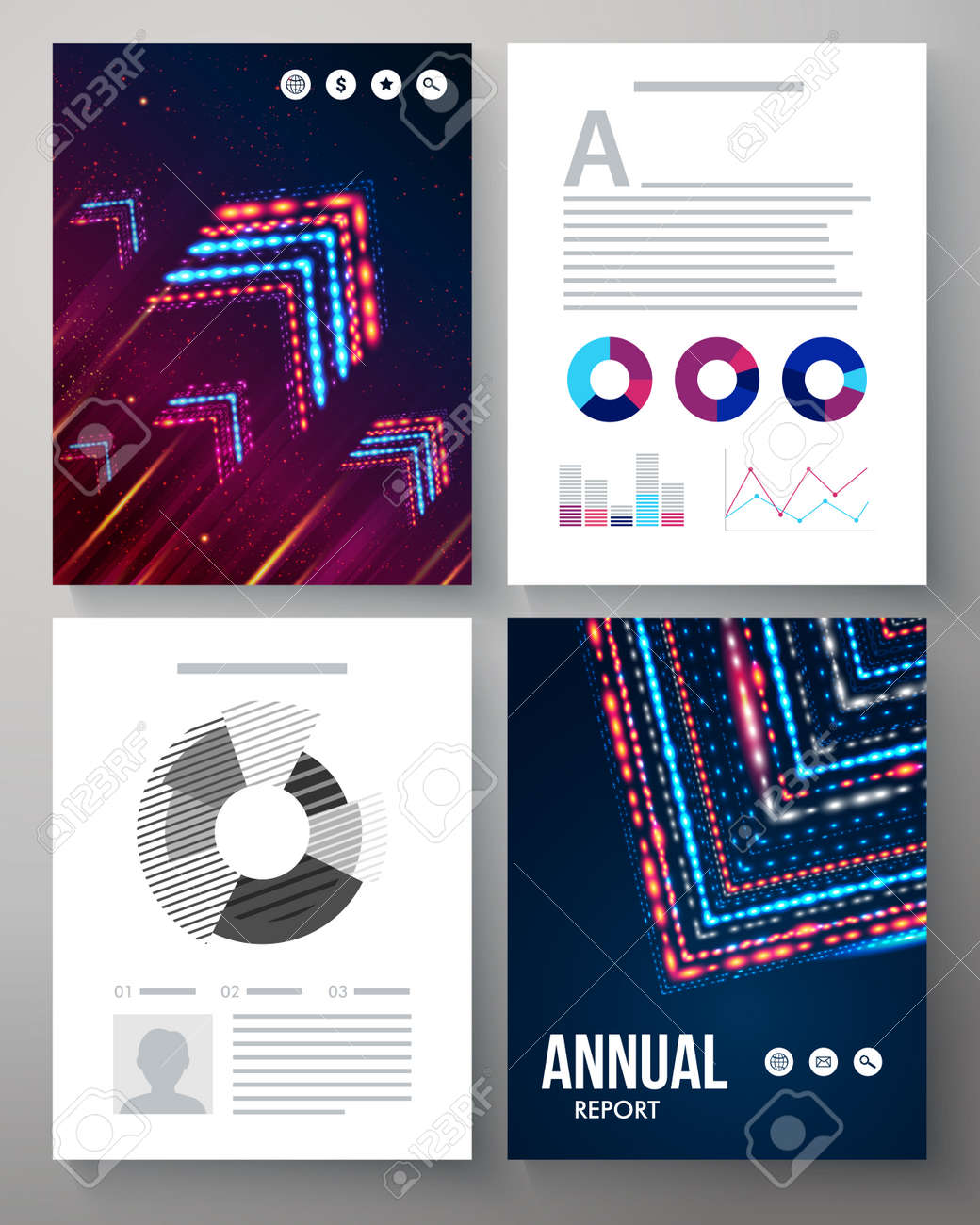 Dynamic Vector Template For An Annual Report With A Cover Pattern – Annual Report Analysis Sample