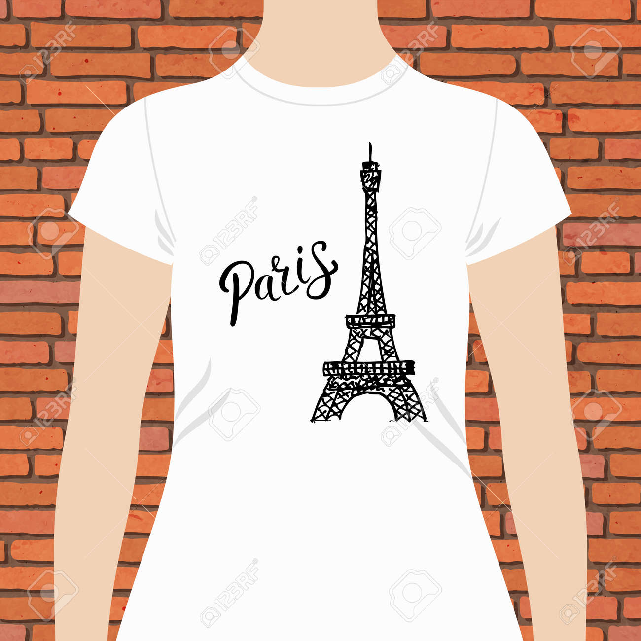 casual white woman shirt template with paris text and famous
