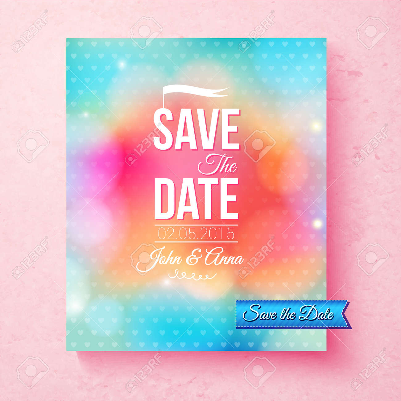 Colorful save the date template in blended pink orange and blue colorful save the date template in blended pink orange and blue textured with dots with maxwellsz
