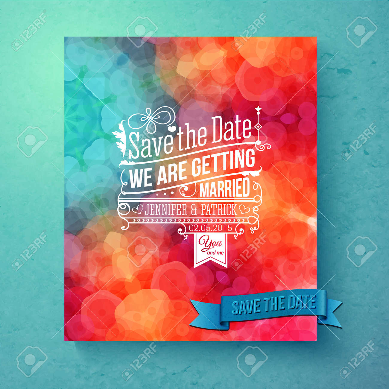 Dynamic Vibrant Save The Date Wedding Invitation Template With ...