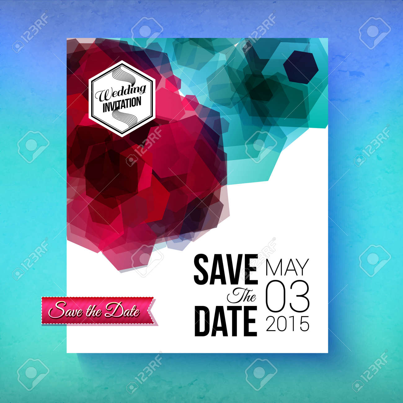 Artistic romantic save the date wedding invitation or card template artistic romantic save the date wedding invitation or card template with bold abstract geometric blue and stopboris Choice Image