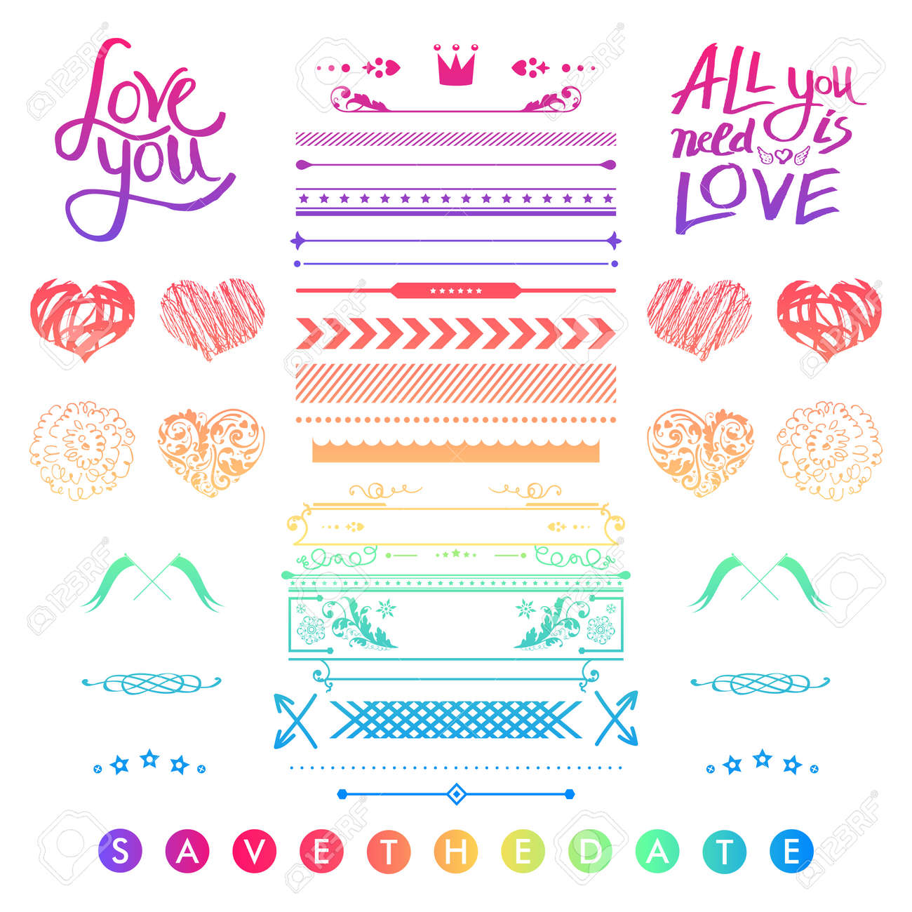 Set Of Colorful Romantic Elements For A Wedding Invitation With ...
