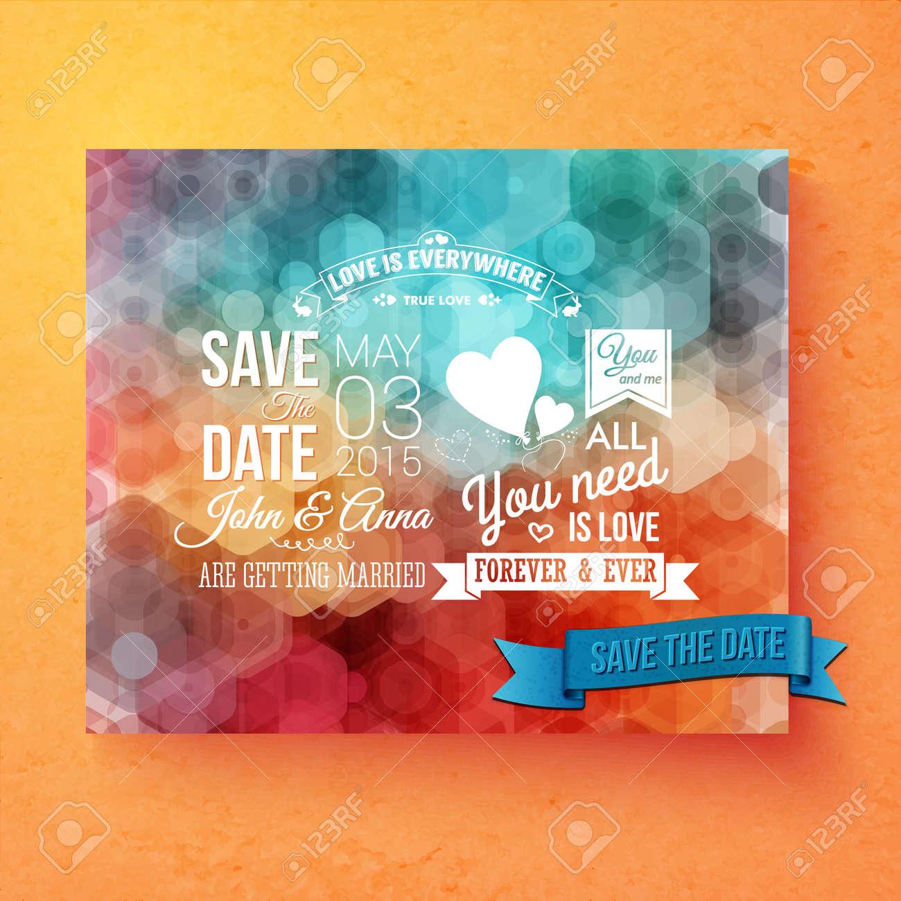 卒業オレンジ色の背景に幾何学的な六角形のボケ味を持つカラフルな抽象的なパターンで結婚式の招待状のベクトル テンプレート保存の日付の白いテキストと感動のロマンチックなメッセージ