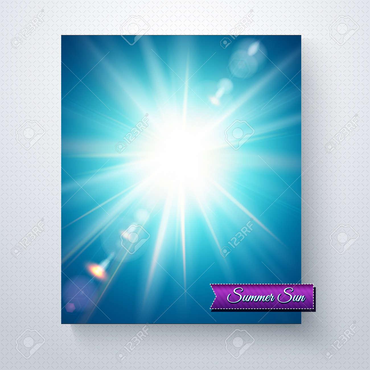 bright white sunburst in a blue summer sky with sun flare and rh 123rf com Vector Light Flare Yellow Sun Clip Art