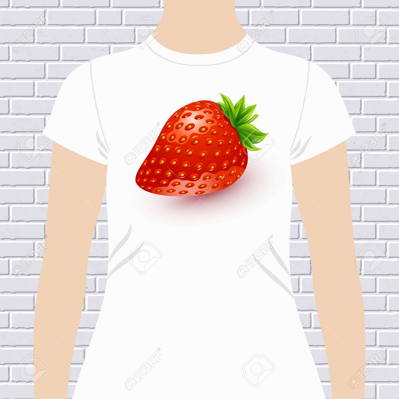 Shirt design red - Fun T Shirt Design Template With A Luscious Ripe Red Fresh Ripe Strawberry On A