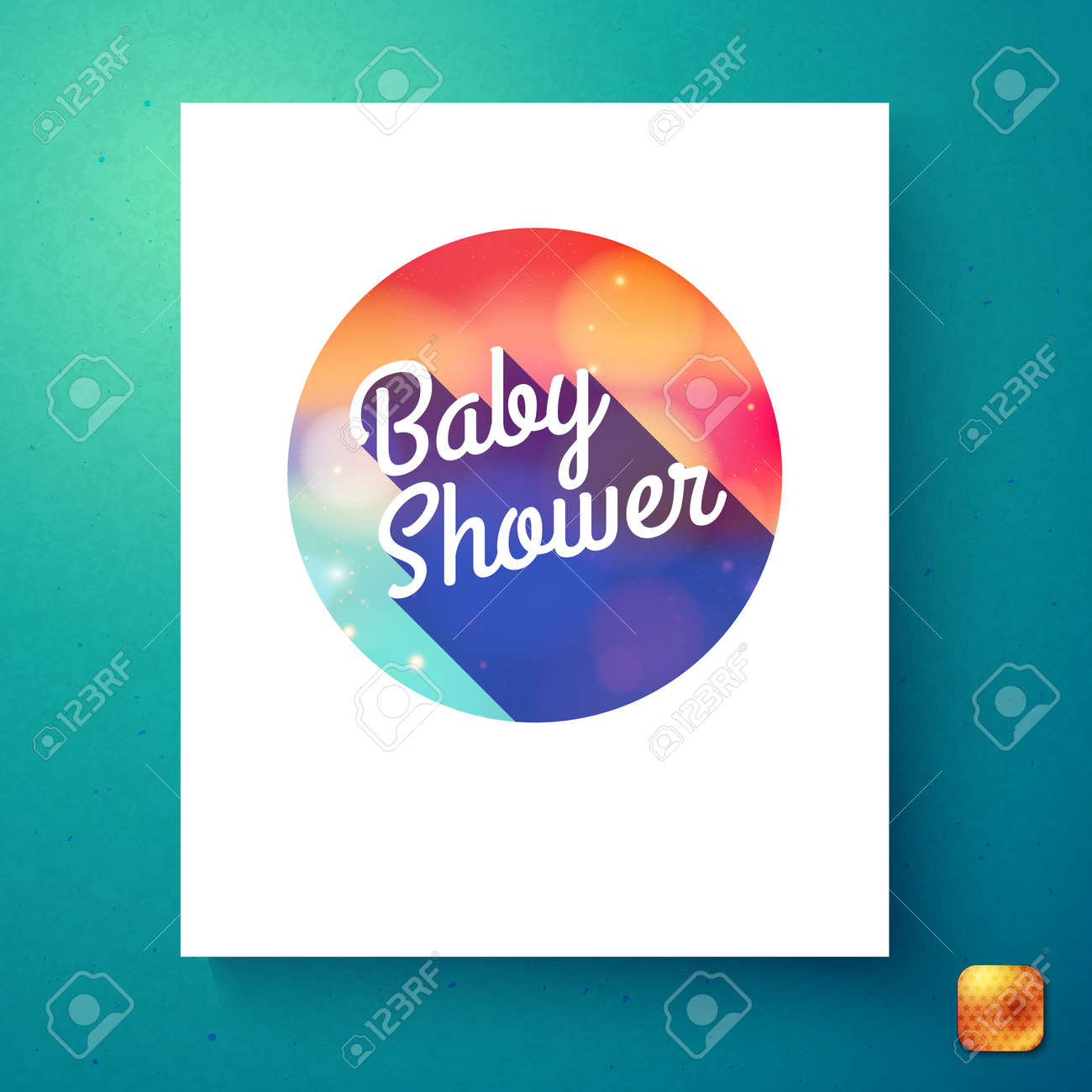Round Baby Shower Badge Invitation Card Template In White Rectangle