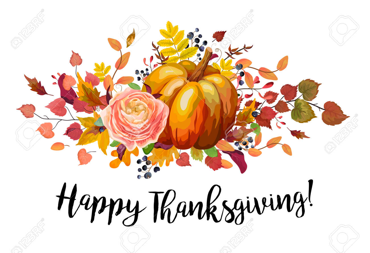Happy Thanksgiving Vector Floral Watercolor Style Greeting