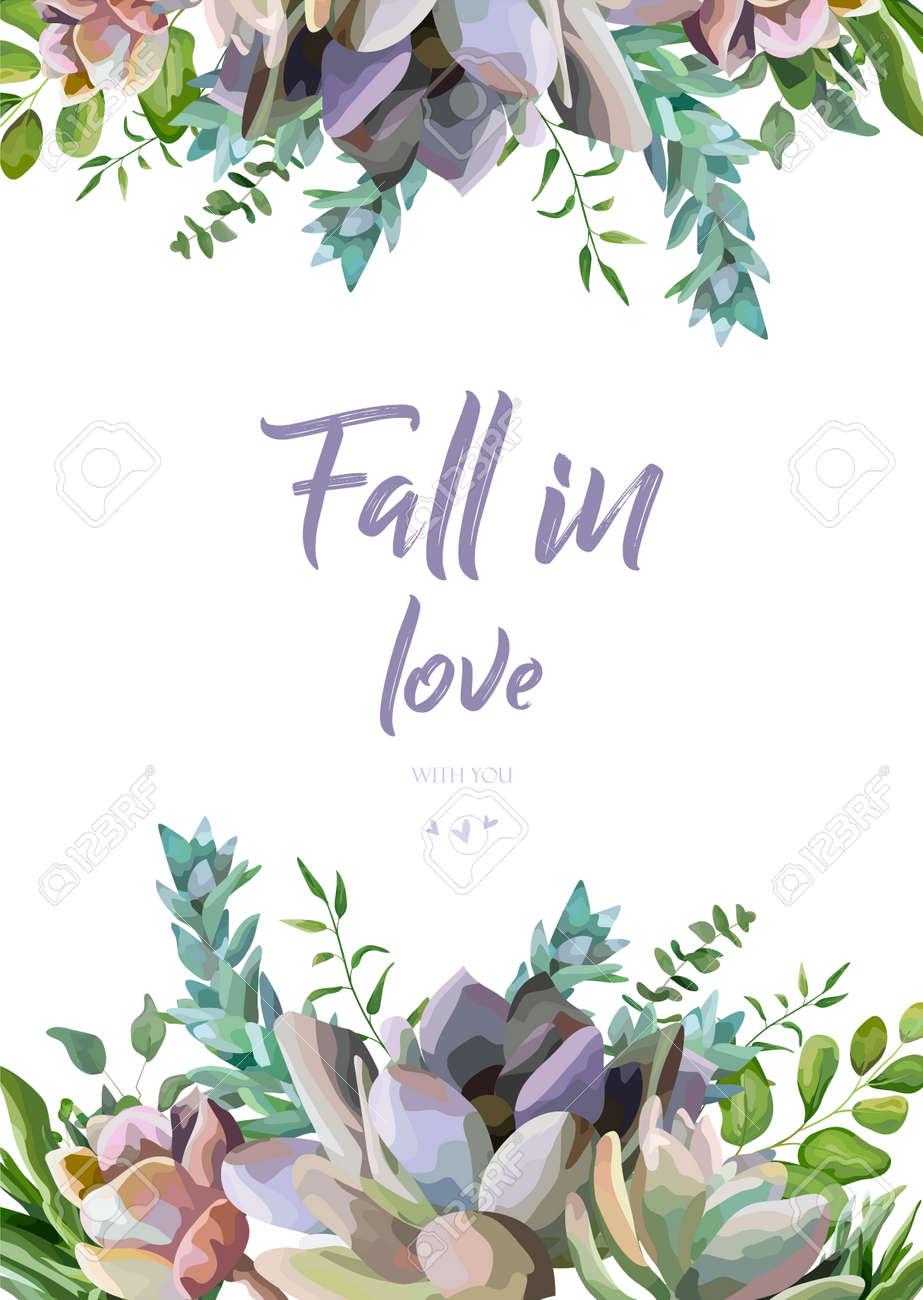 Diseño Floral De La Tarjeta Del Vector: Frontera Hermosa Dibujada ...