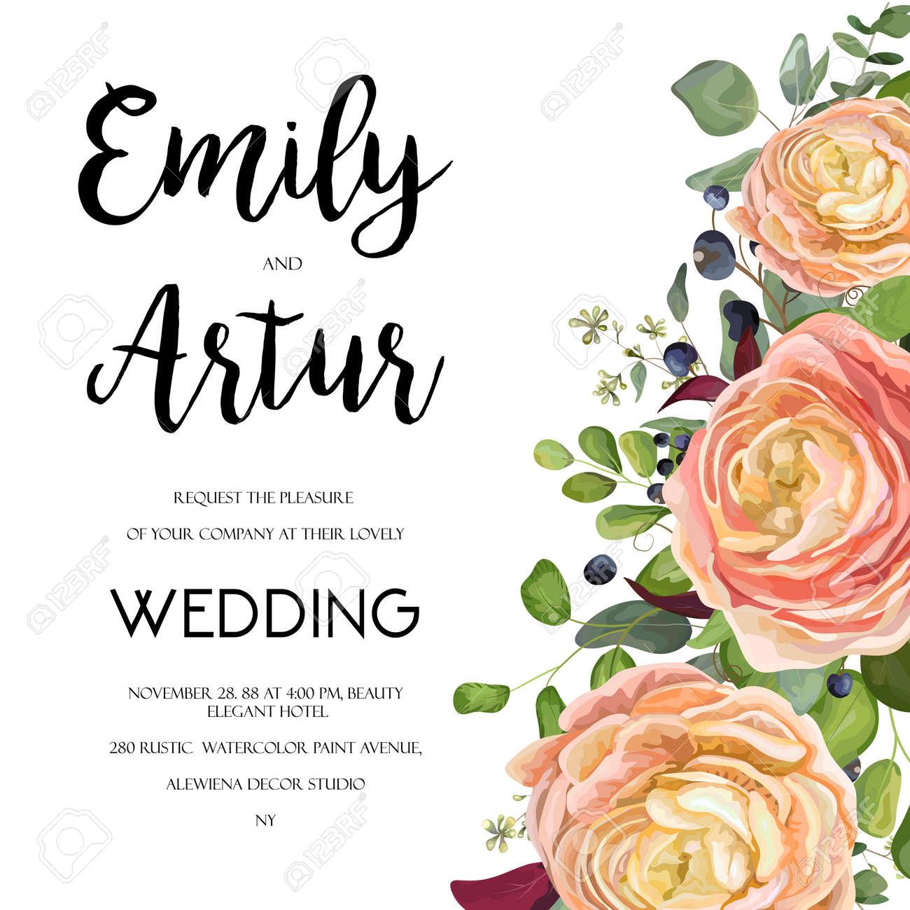 Wedding Invitation Invite Card Design With Watercolor Hand Drawn