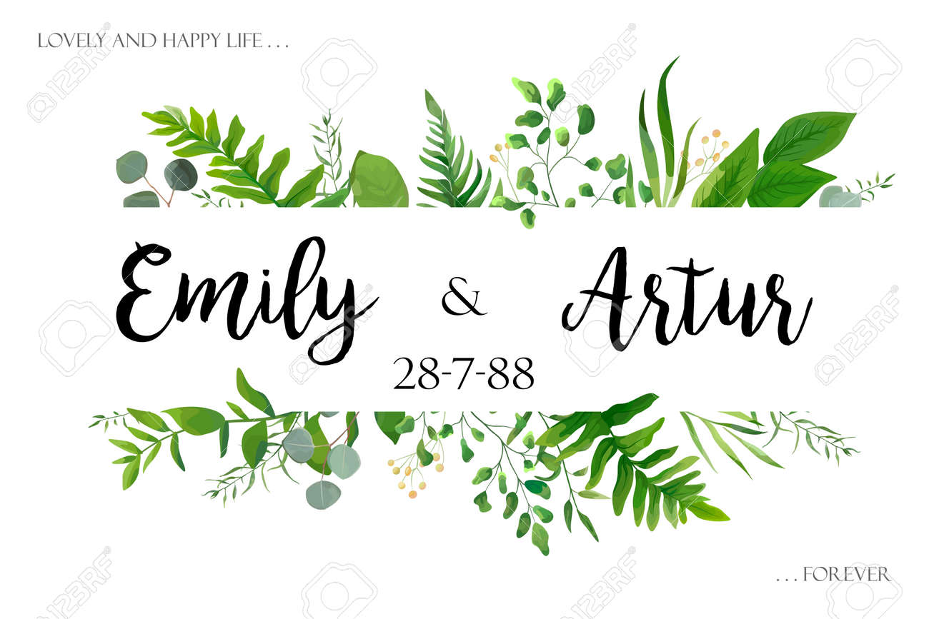 Wedding invite invitation card vector floral greenery design: Forest fern frond, Eucalyptus branch green leaves foliage herb greenery, berry frame, border. Poster, greeting Watercolor art illustration - 92712120