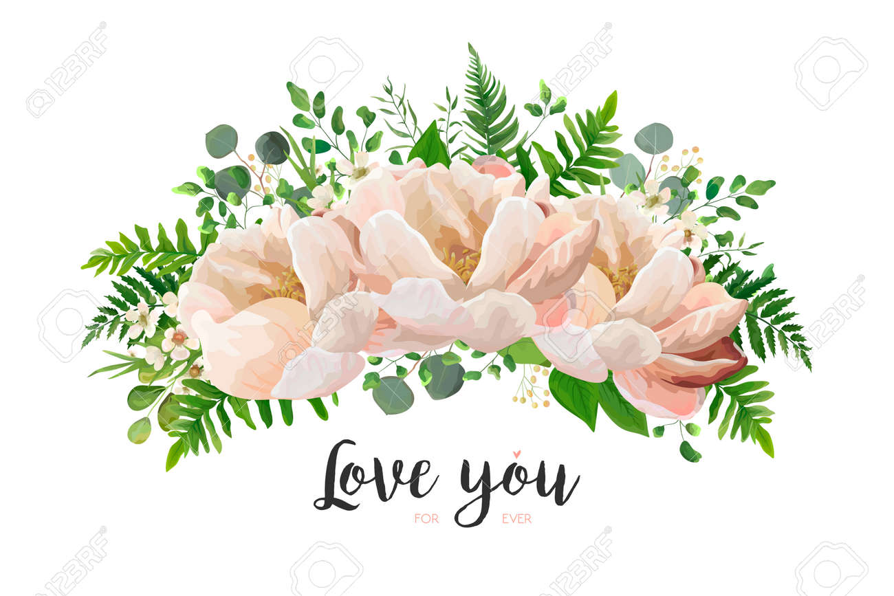 Flower bouquet vector design element peach pink rose peony flower bouquet vector design element peach pink rose peony wax flowers eucalyptus mightylinksfo