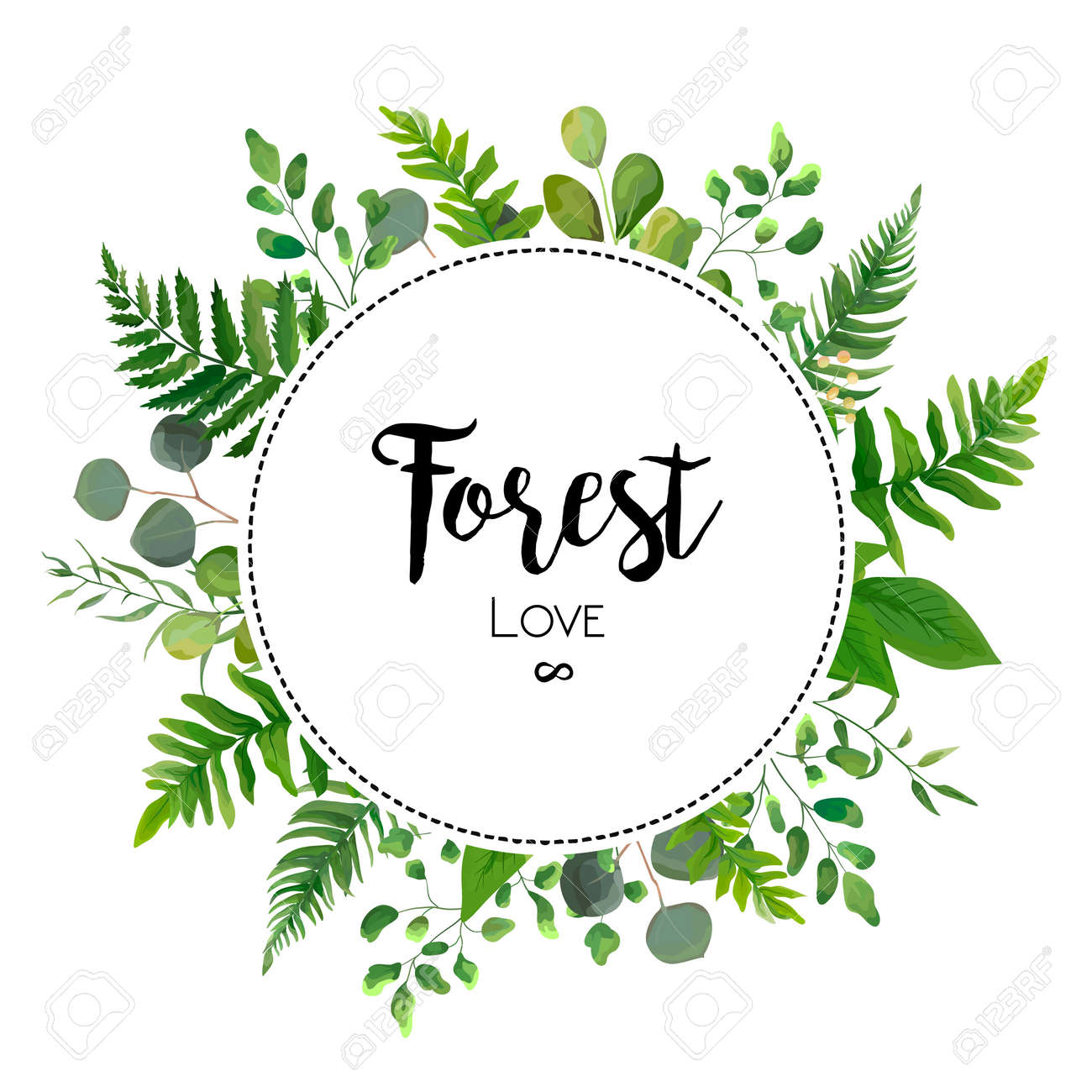 Floral vector invite card Design with green Eucalyptus fern leaves elegant greenery berry forest round circle wreath beautiful cure frame border print. Vector garden illustration, Wedding Invitation - 92712177