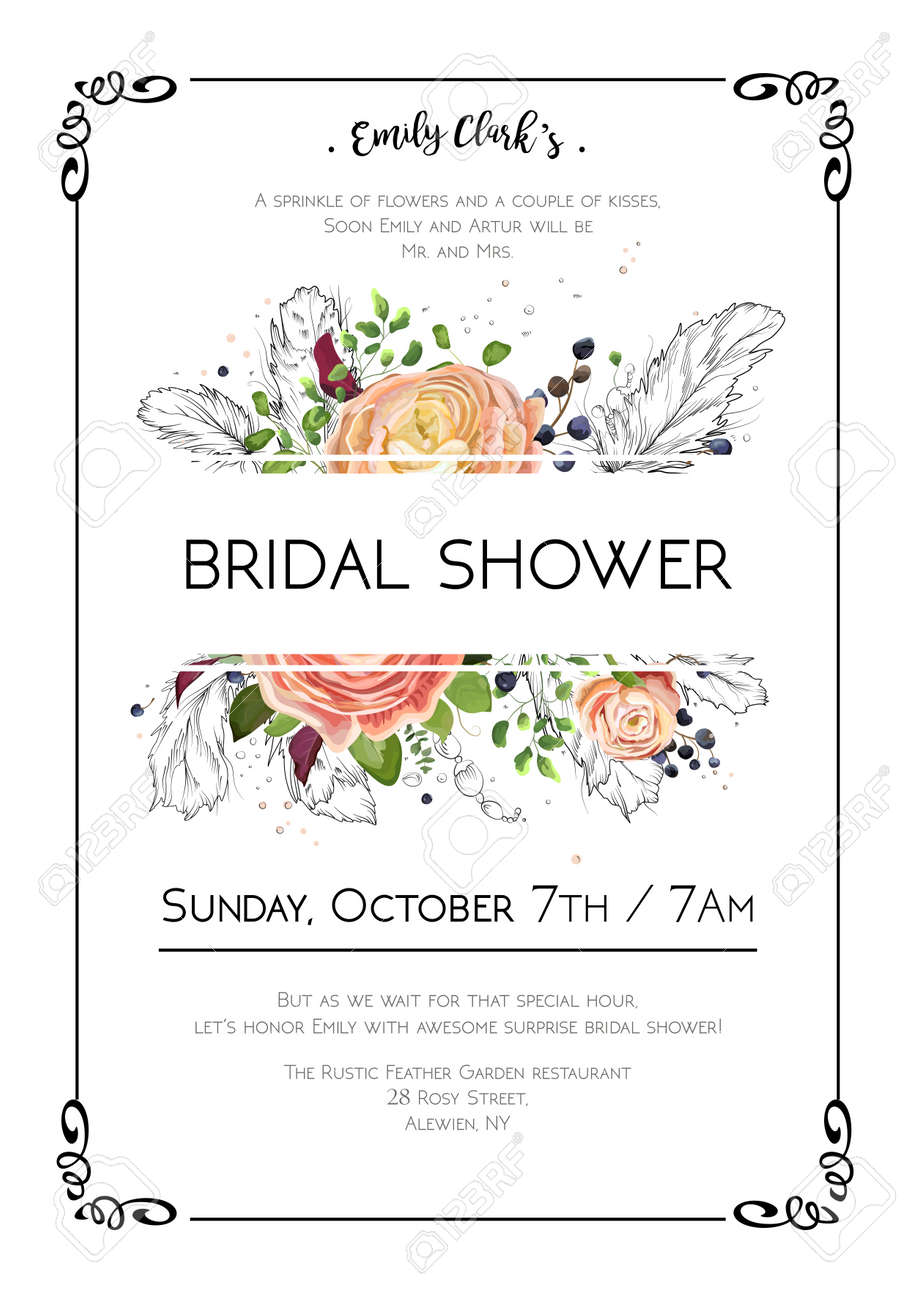 Bridal Shower Vector Boho Art Wedding Watercolor Invitation Card ...