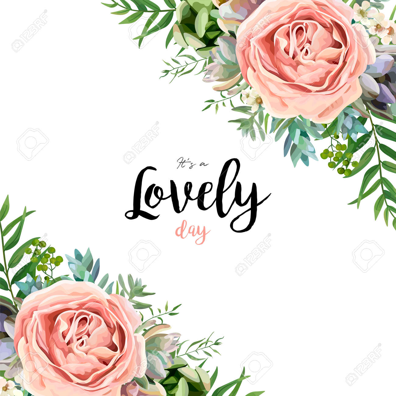 Vector floral card frame bouquet design with garden pink peach lavender Rose wax flower Eucalyptus branch green fern palm leaves succulent berry illustration Watercolor designer corner border template - 92780808