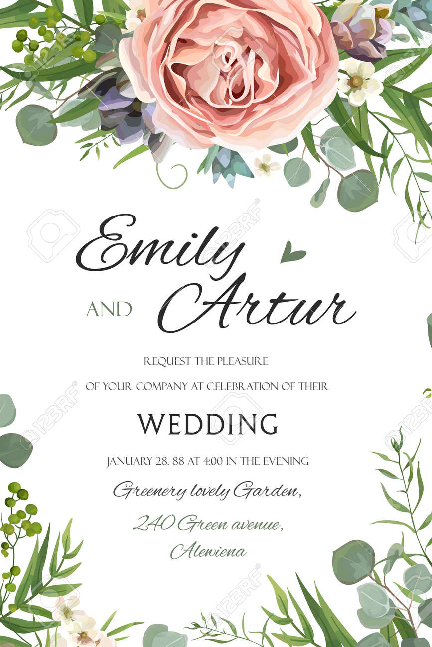 Wedding Invitation, Invite Save The Date Floral Card Vector Design ...