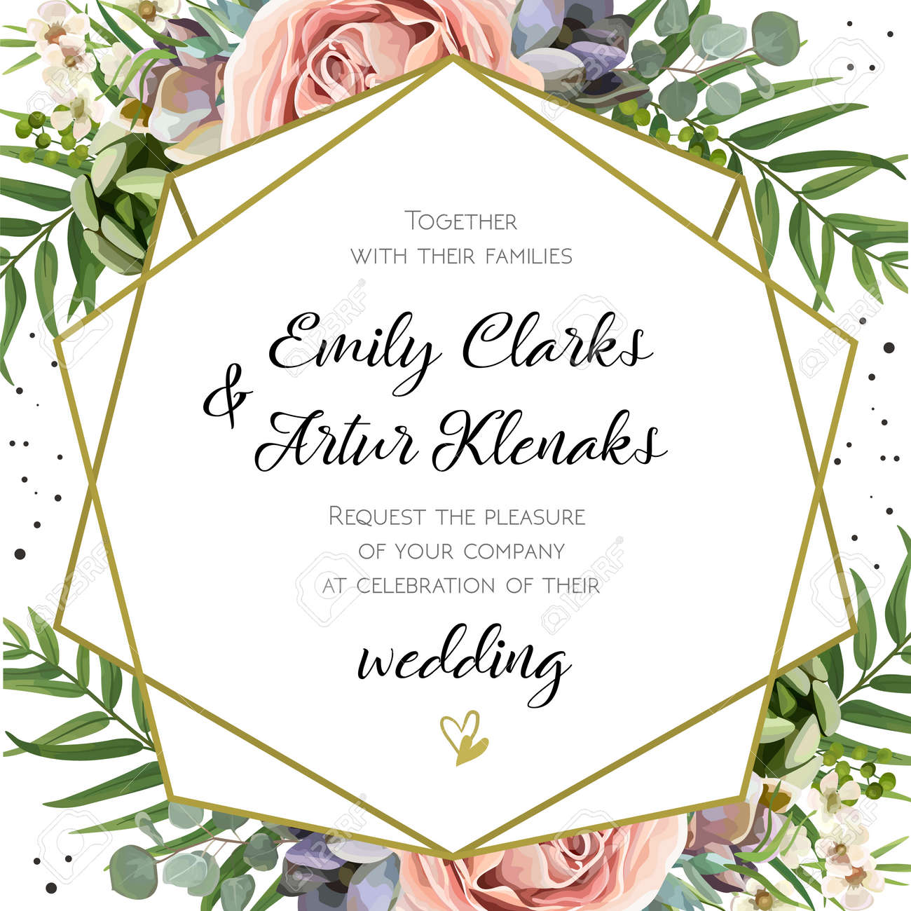 Wedding Invitation, floral invite card Design: Peach lavender pink garden Rose, succulent, wax, eucalyptus, green palm leaves, forest fern greenery geometric golden frame print. Vector cute copy space - 92759055