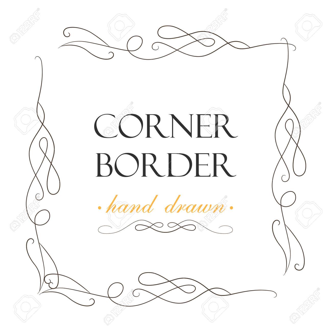Designer Vintage Corner Border Set Wedding Invitation Card Decoration Calligraphy Elegant Decorative Swirls Ornate Delicate Cute Art