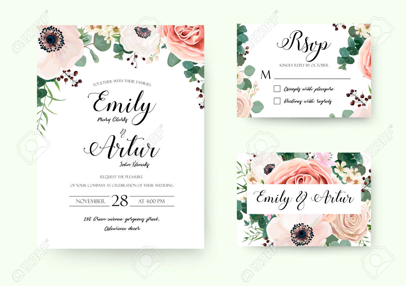Wedding Invitation Floral Invite Rsvp Cute Card Vector Designs ...
