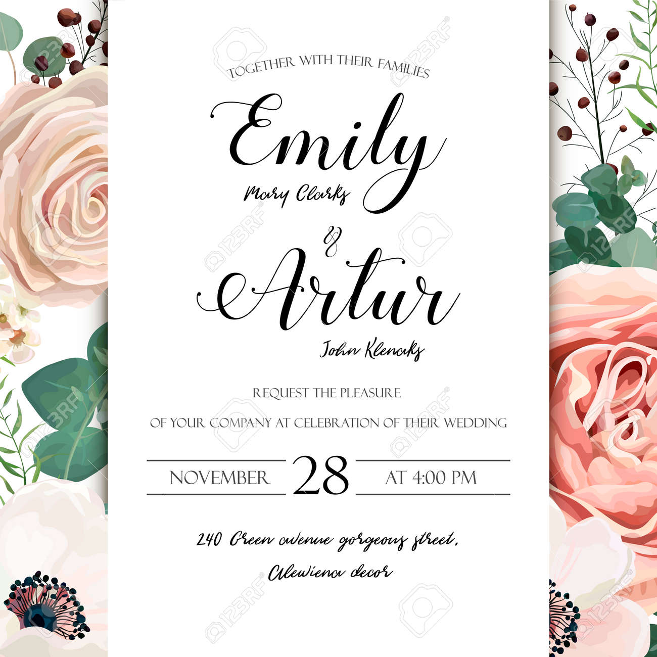 floral wedding invitation elegant invite card vector design