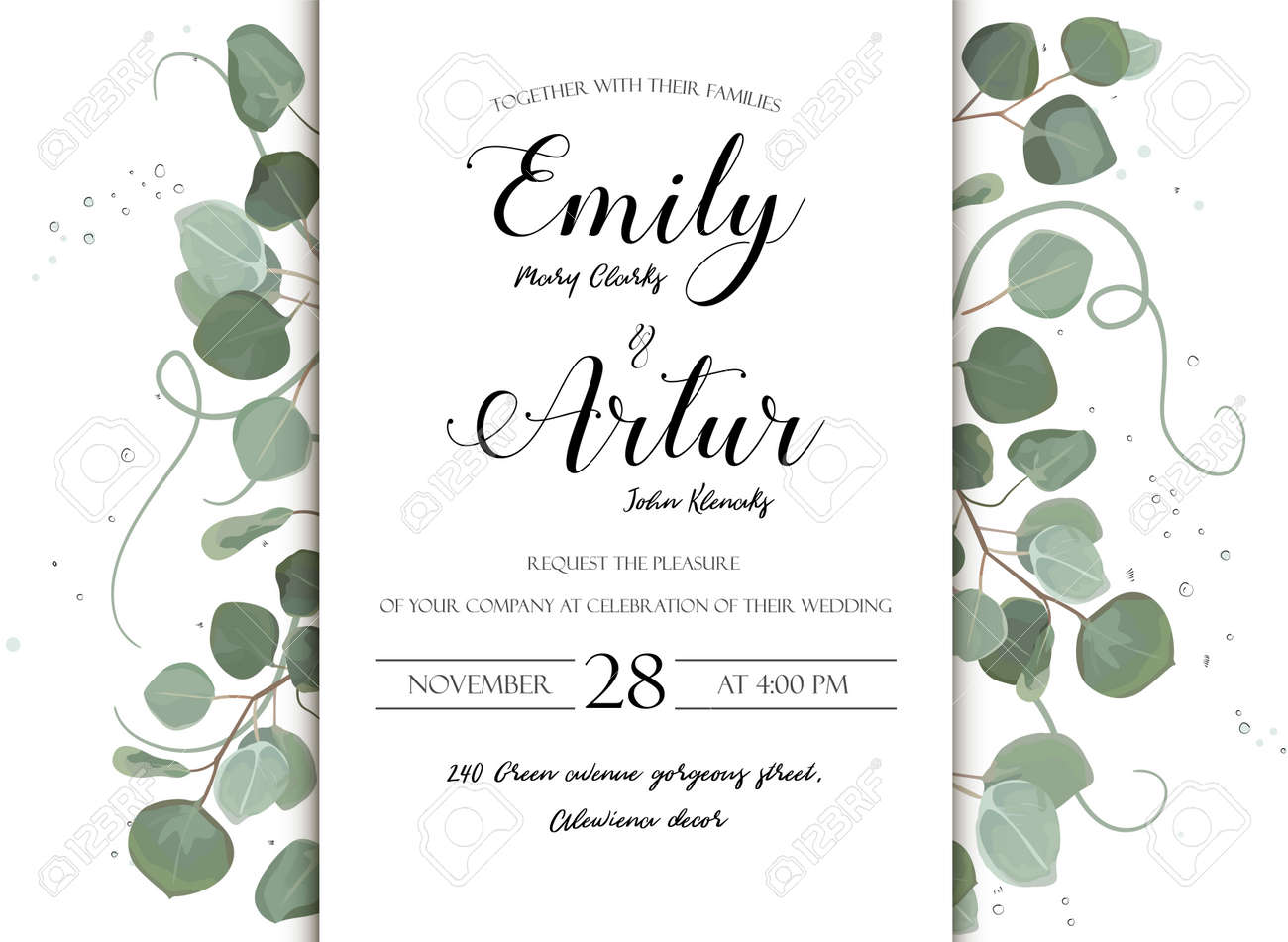 Wedding floral hand drawn invite invitation card design: Eucalyptus silver dollar branch greenery natural leaves watercolor style, rustic, elegant delicate green anniversary copy space beauty template - 92801222