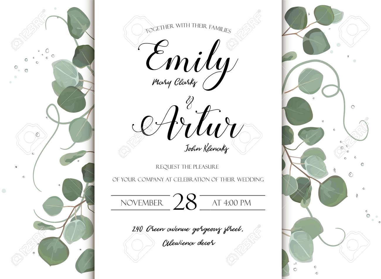 Boda Floral Dibujado A Mano Invitar Diseño De Tarjeta De Invitación Eucalipto Dólar De Plata Rama Verde Hojas Naturales Estilo Acuarela Rústico