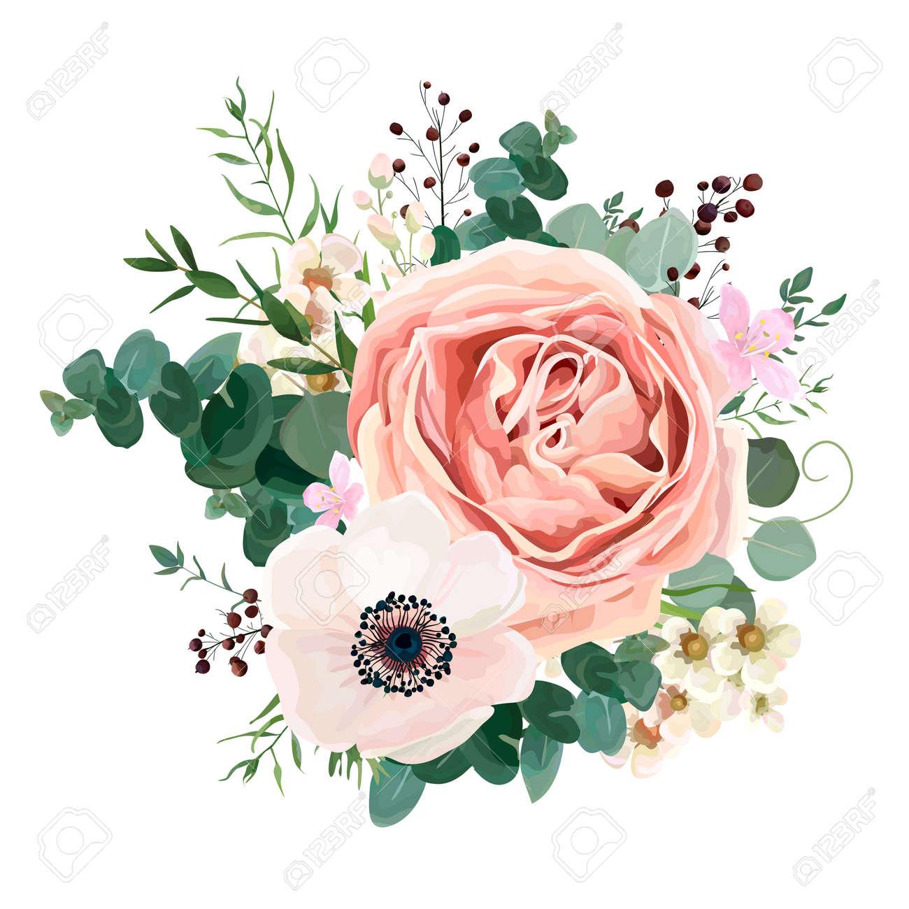 Floral card vector Design: garden flower lavender pink peach Rose white Anemone wax green Eucalyptus thyme leaves elegant greenery, berry, forest bouquet print.Wedding rustic Invitation elegant invite. - 92810788