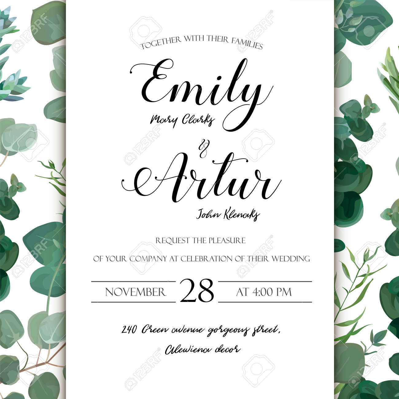 Wedding floral hand drawn invite invitation card design eucalyptus vector wedding floral hand drawn invite invitation card design eucalyptus silver succulent cactus greenery natural leaves watercolor rustic elegant stopboris Image collections