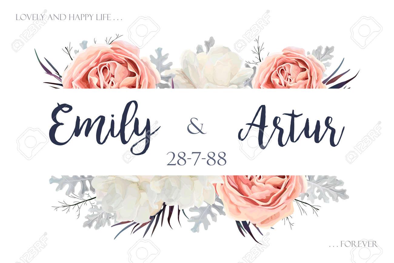 Vector Floral Wedding Invitation Invite Save The Date Card Design