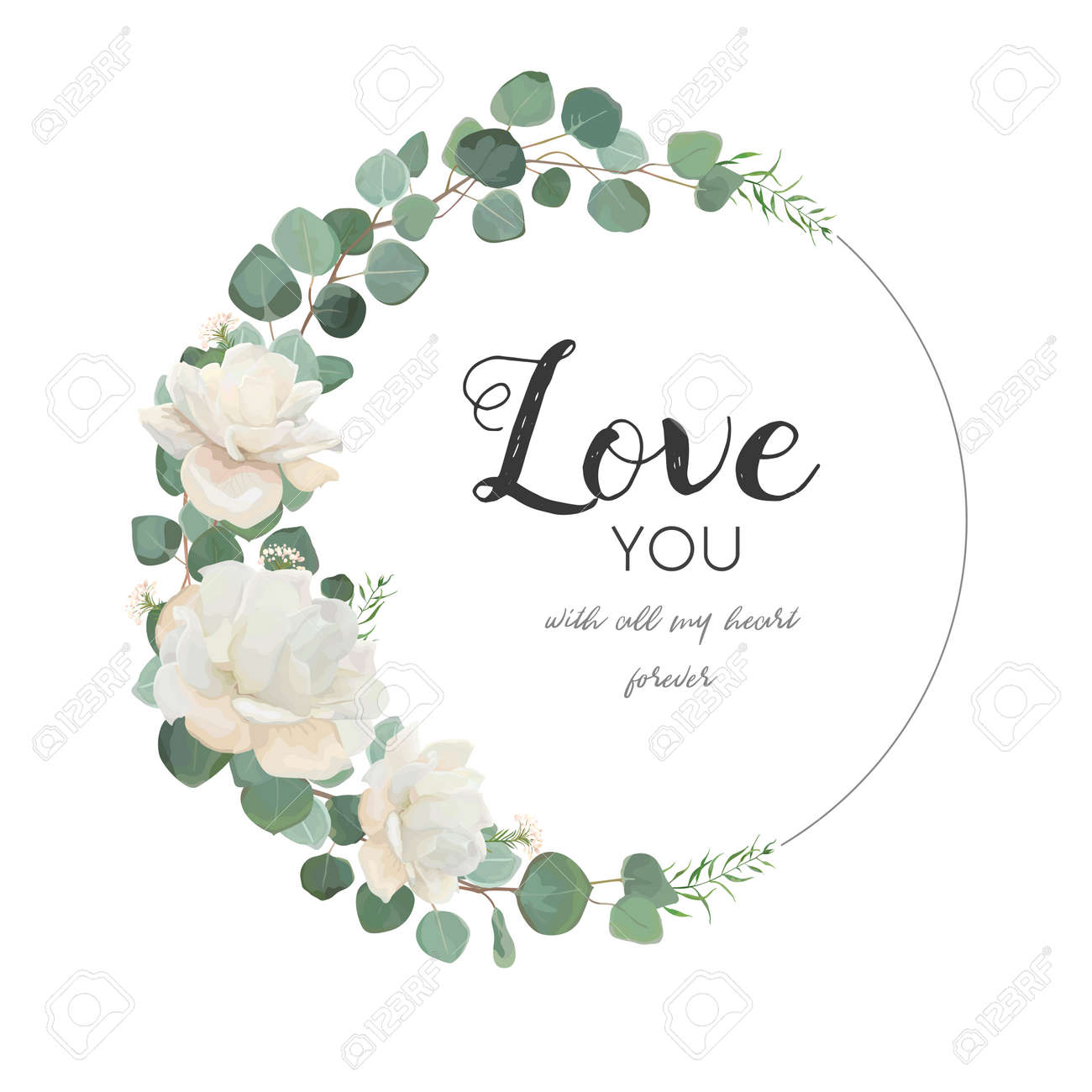 Vector floral design card. White Rose cute flower Eucalyptus branch with leaves & greenery mix round wreath. Greeting, wedding invite template.Round frame border with Love you quote. Tender copy space - 92843377