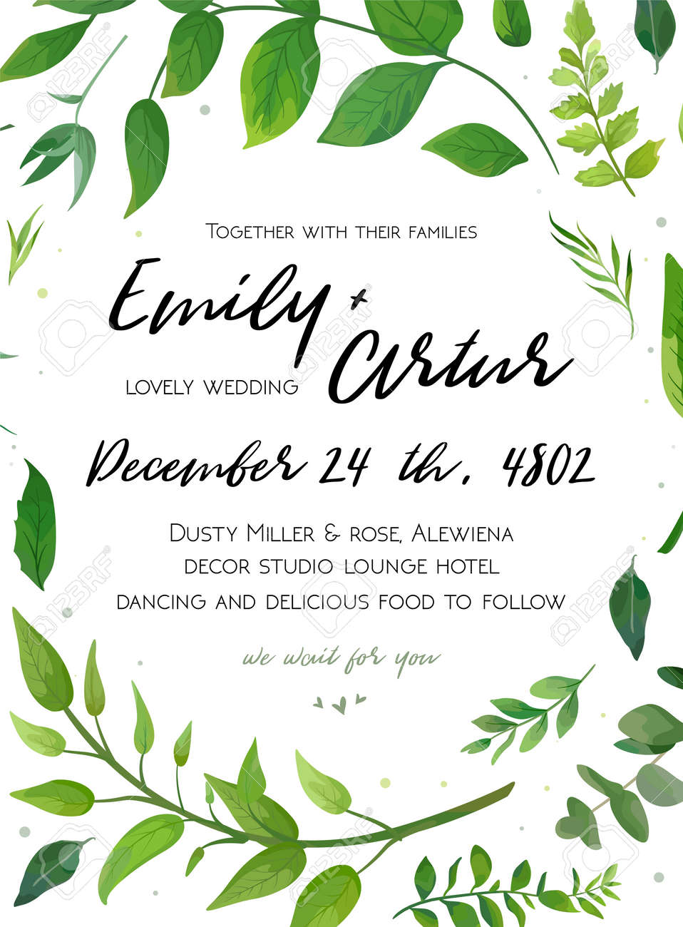 Wedding Invitation Template With Green Fern Leaves Design Illustration
