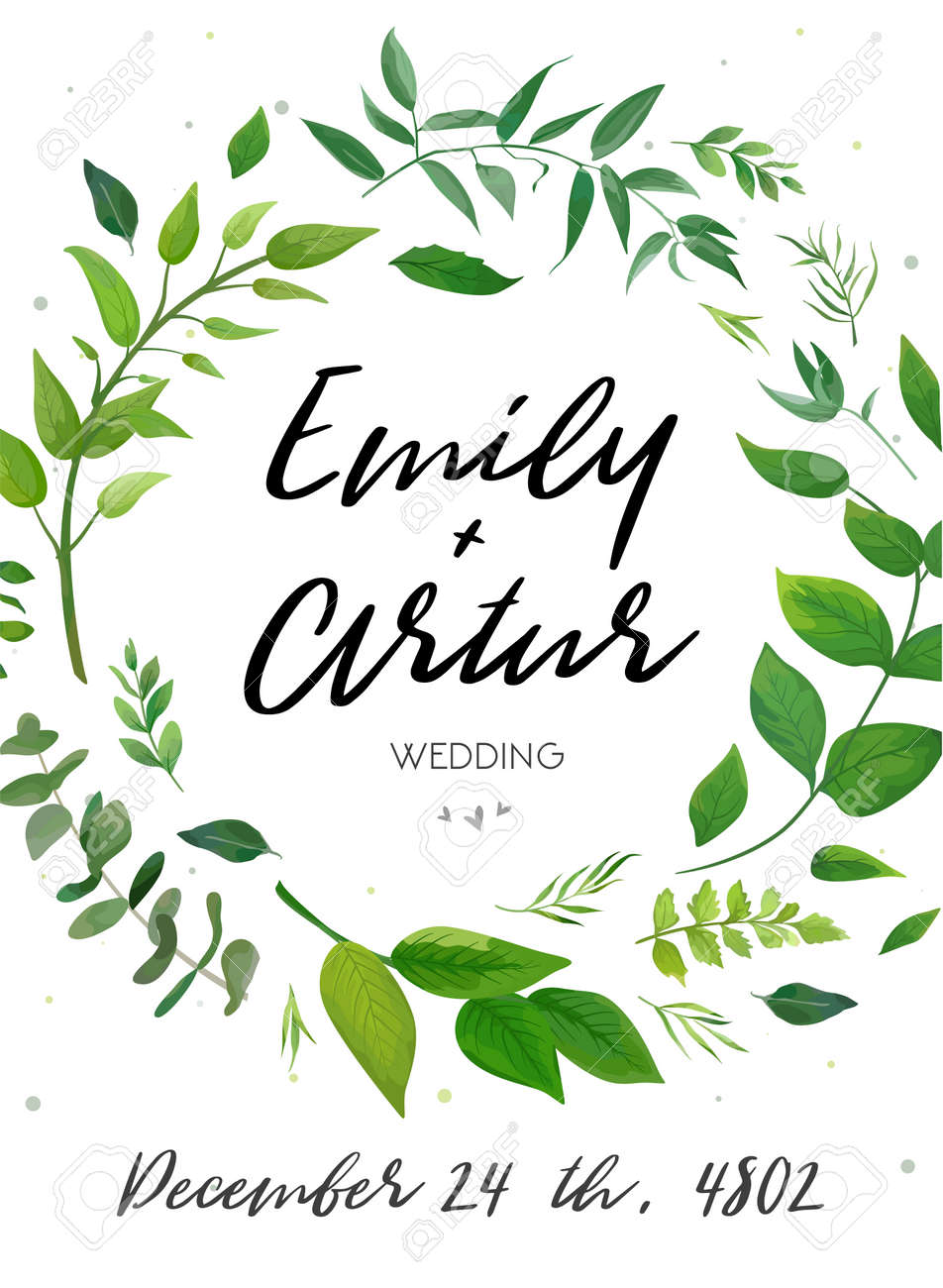 Elegant Wedding Invitation Template With Green Leaves Wreath