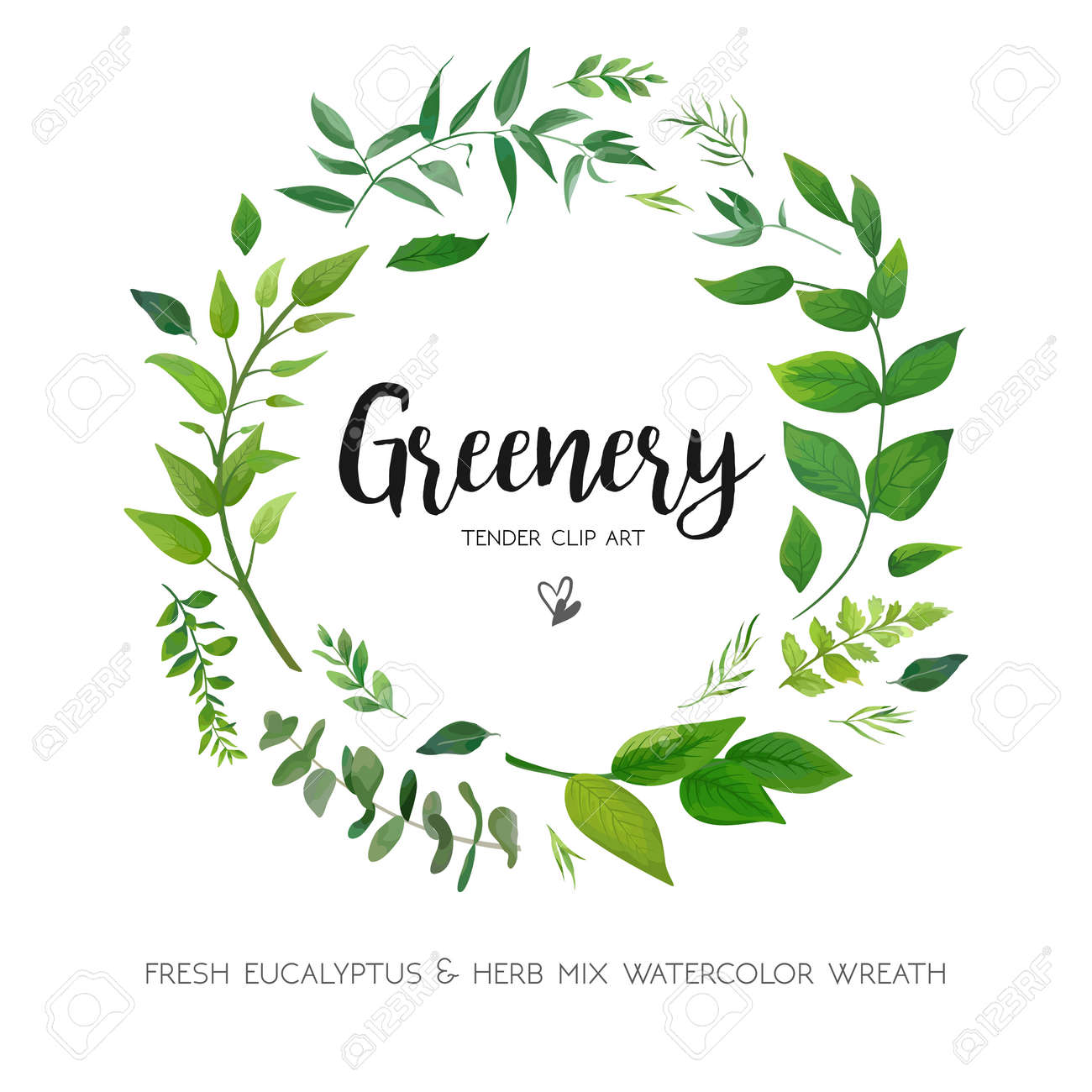 Floral card design with green Eucalyptus fern leaves. Elegant greenery, herbs forest round, circle wreath beautiful cute rustic frame border print. - 92843498