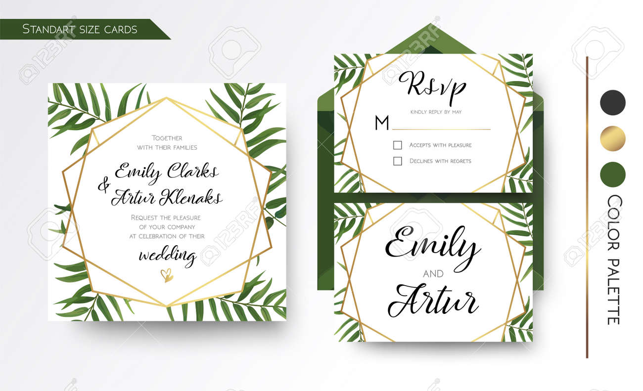 Wedding Invitation, Save The Date, Rsvp Invite Card Design With ...