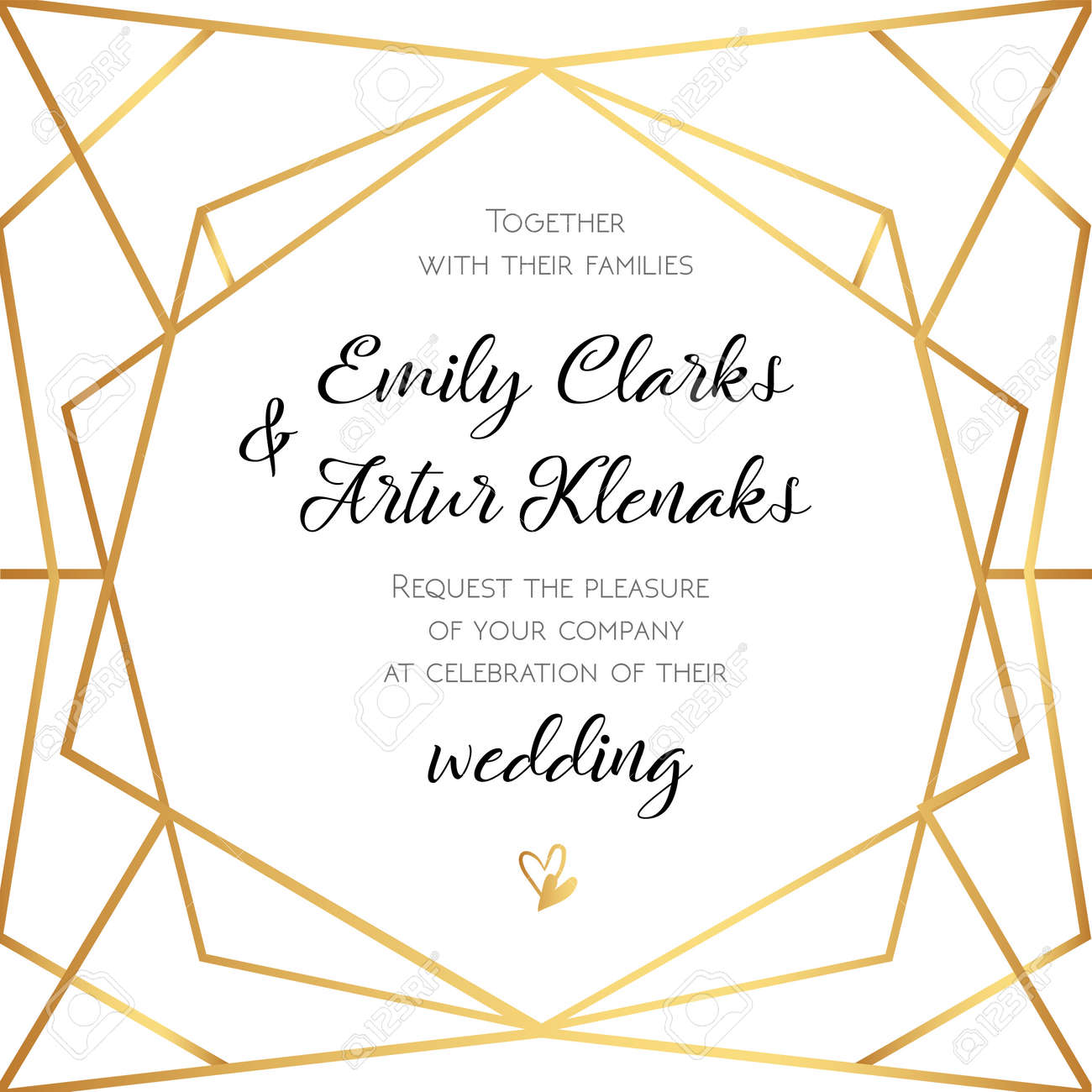 Wedding Invitation, Invite Card Design With Geometrical Art ...