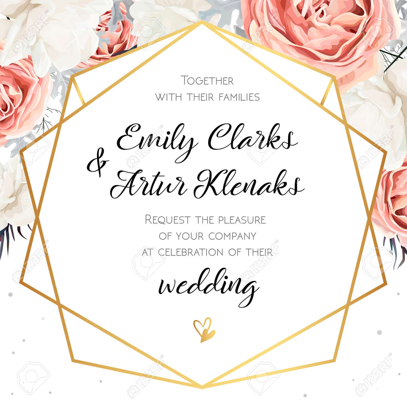 vector floral wedding invitation invite card design with flower