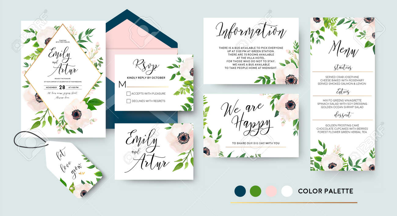 Wedding invite, menu, rsvp, thank you label save the date card Design with white, pink anemone flowers, green leaves greenery foliage bouquet & golden frame. Vector cute rustic delicate chic layout. - 92844136