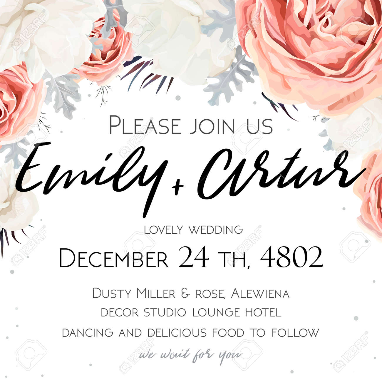 floral wedding invitation invite save the date card design