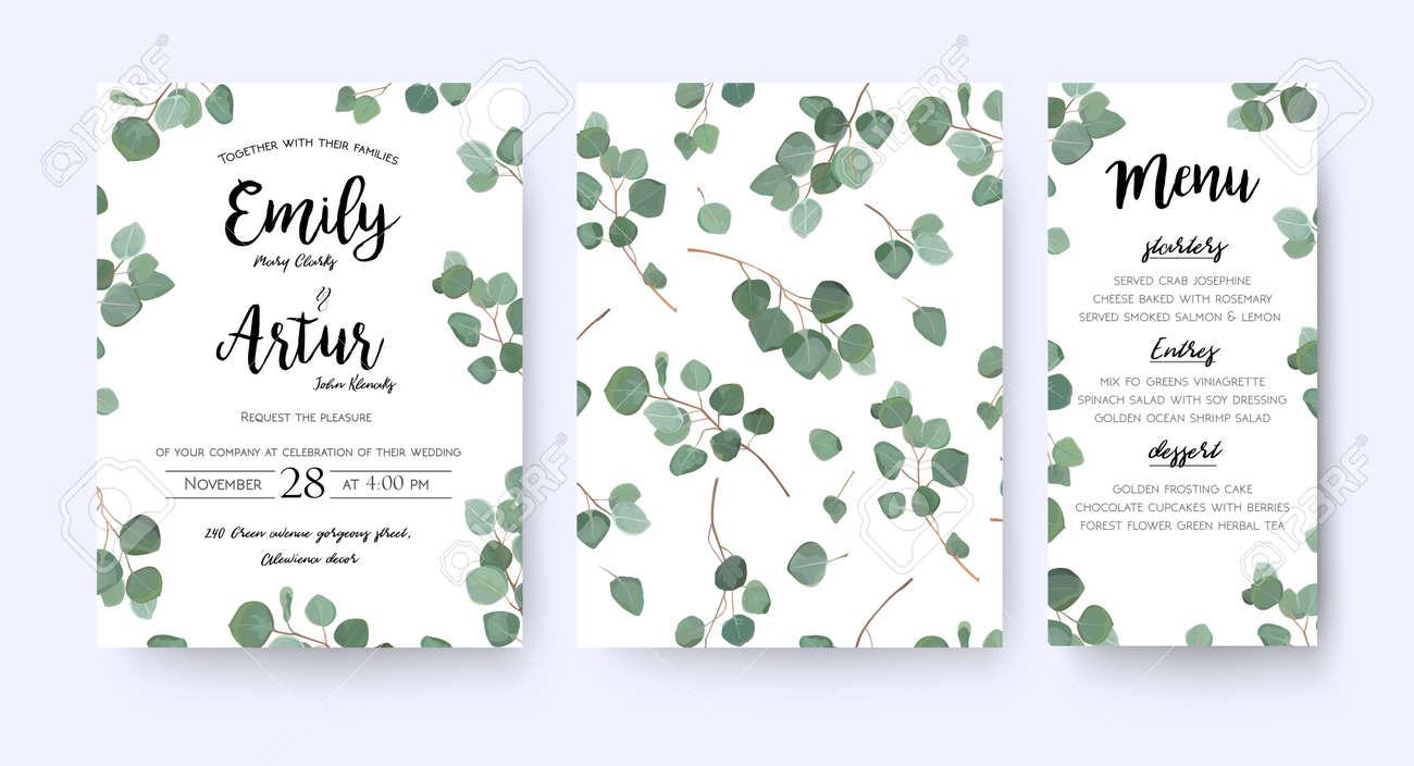 Wedding invite invitation menu card vector floral greenery design: forest Eucalyptus branches. - 92845344
