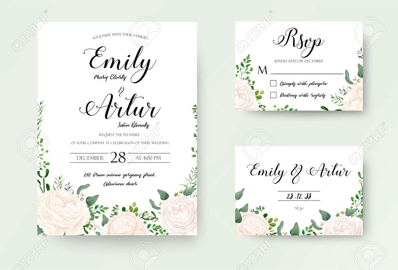Wedding Invitations Floral Invite. White Garden, Rose Flower ...