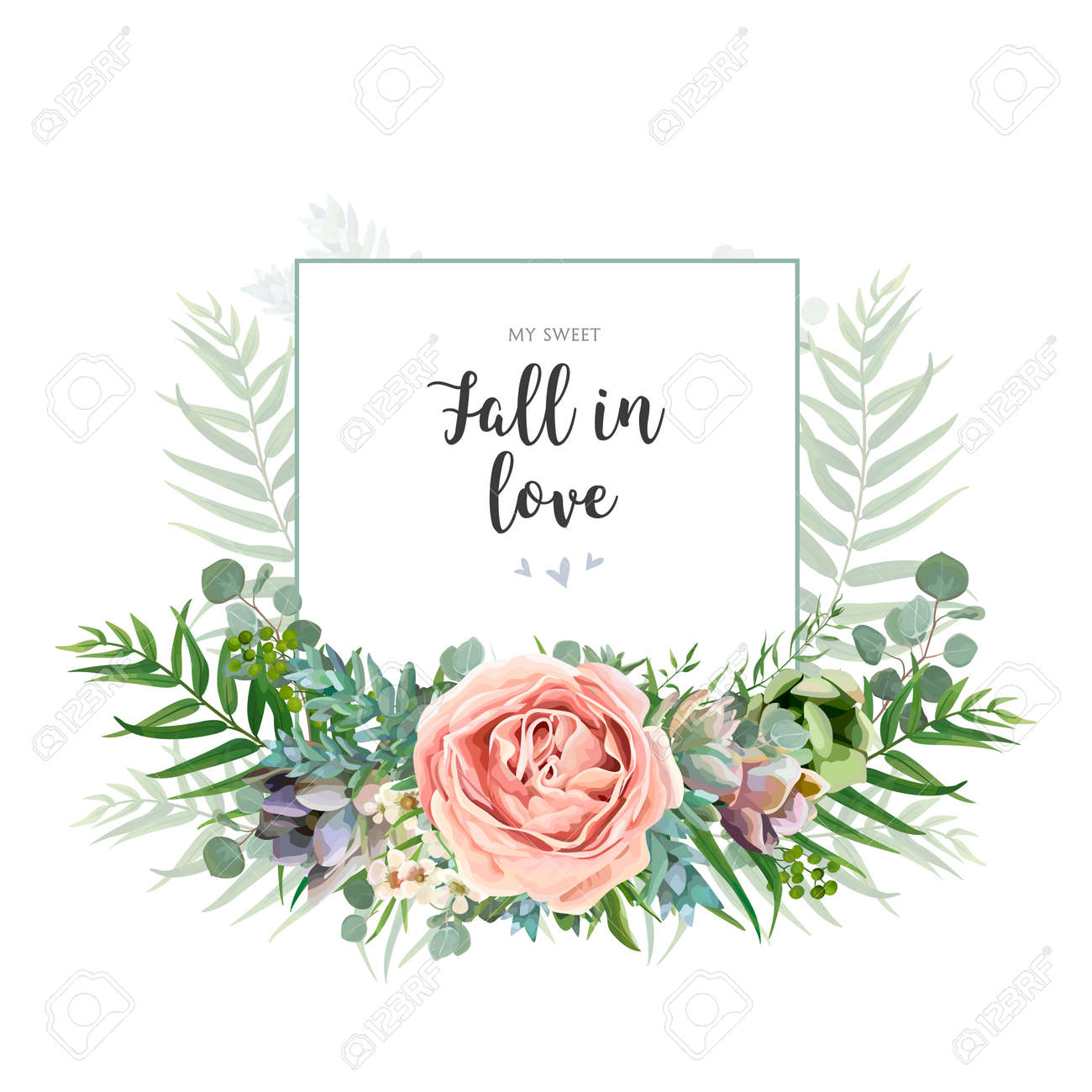 Floral invite greeting postcard card design. Garden pink Rose wax flower, Eucalyptus branch green palm leaves succulent bouquet watercolor wreath. Romantic art editable illustration. Text space. - 92867888