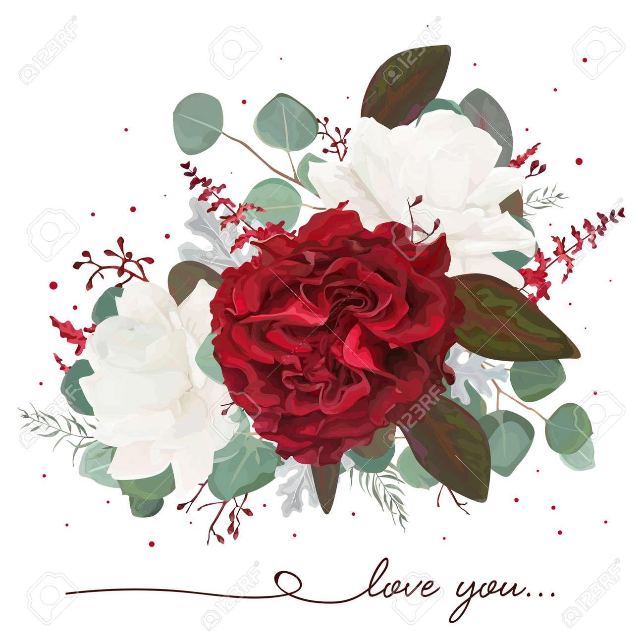 Vector Floral Bouquet Design: Garden Red, Burgundy Rose Flower ...