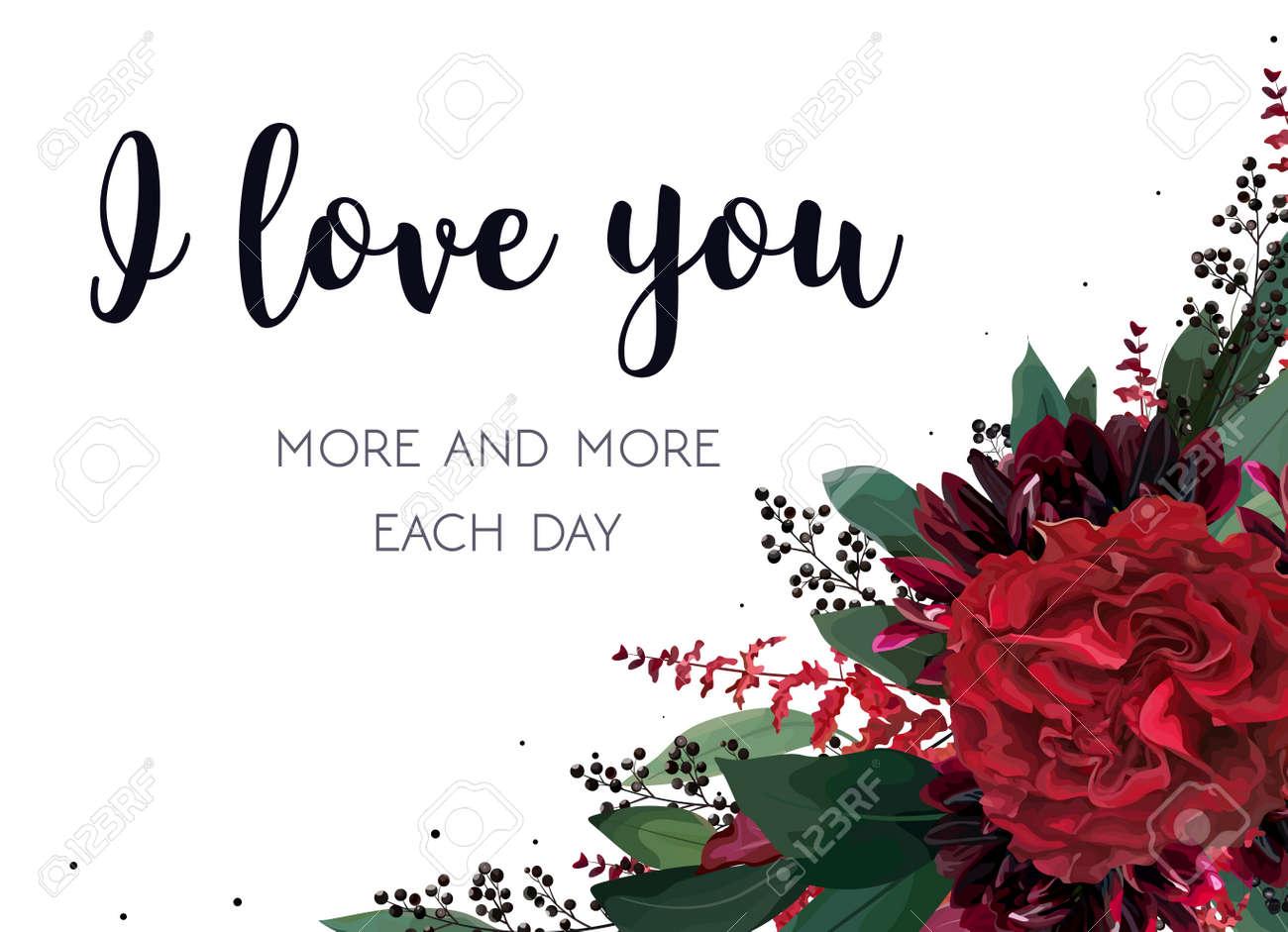 Floral valentine's card design. - 92929164