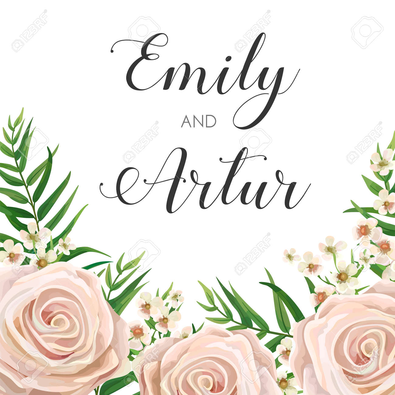 Wedding Invitation, floral invite card Design with creamy white garden rose flowers, wax flower, green tropical forest palm tree leaves greenery border, frame. - 94100018