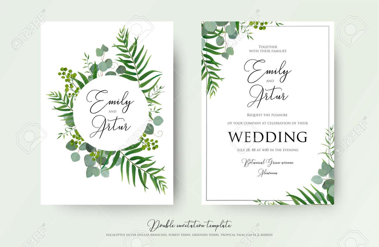 Wedding Invitation, floral invite thank you, RSVP modern card Design: green tropical palm leaf greenery eucalyptus branches decorative wreath - 94100021