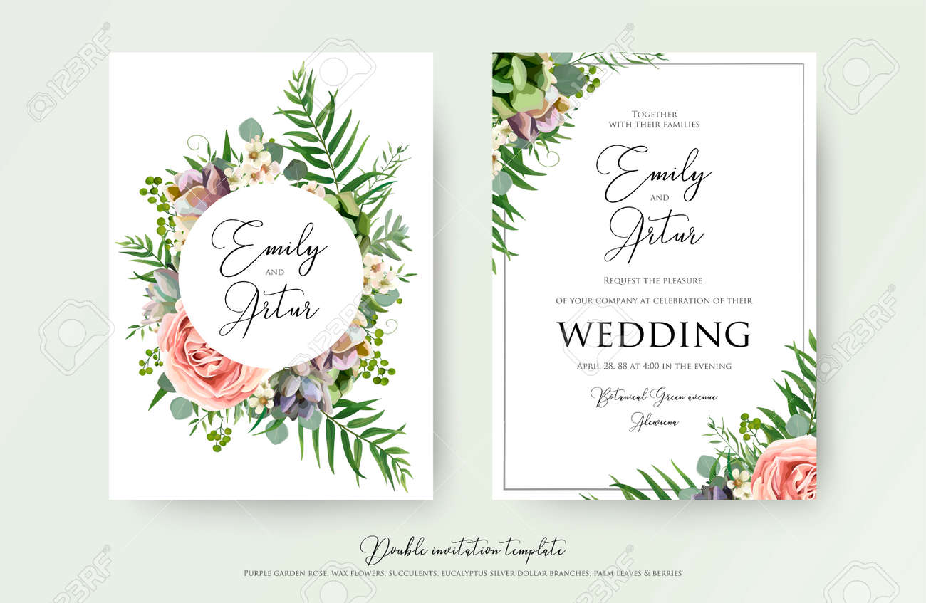 Floral Wedding Invitation elegant invite, thank you, rsvp card vector Design: garden pink, peach Rose flower, white wax, succulent, cactus plant, green Eucalyptus tender greenery, berry trendy bouquet - 94188343