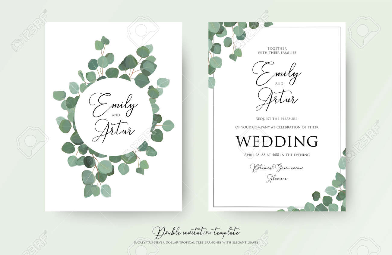 Wedding floral watercolor style double invite, invitation, save the date card design with cute Eucalyptus tree branches with greenery leaves decoration. Vector natural elegant, rustic luxury template - 151790694