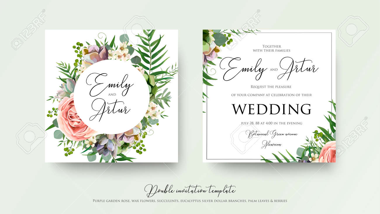 Wedding floral invite invitation card Design with lavender pink violet garden rose, green tropical palm leaf greenery eucalyptus branches decoration. Vector elegant watercolor rustic cute template set. - 94116556