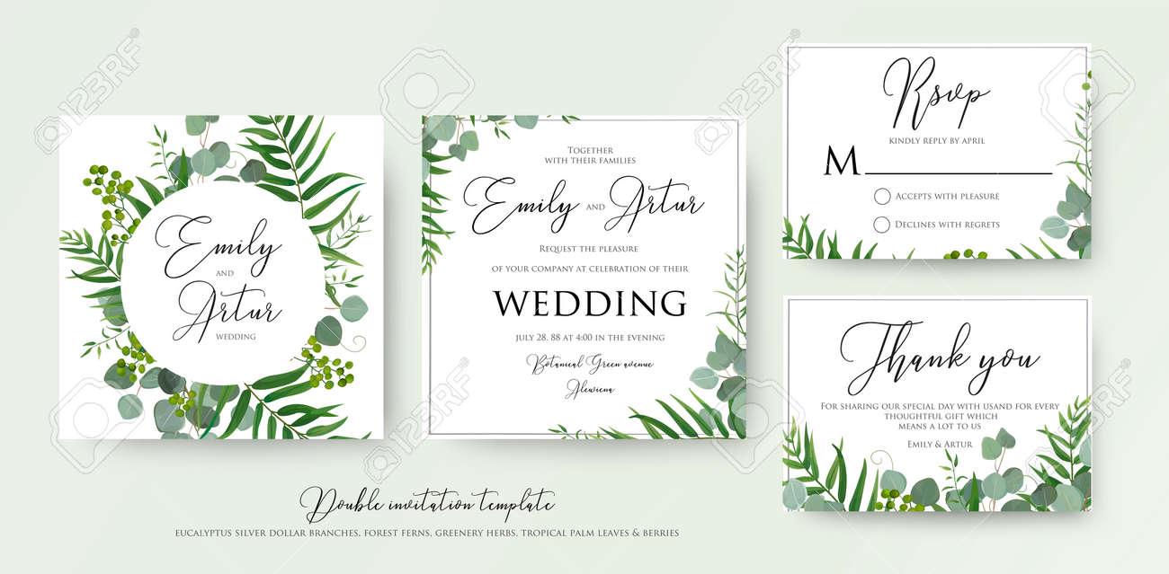 wedding invitation floral invite thank you rsvp modern card
